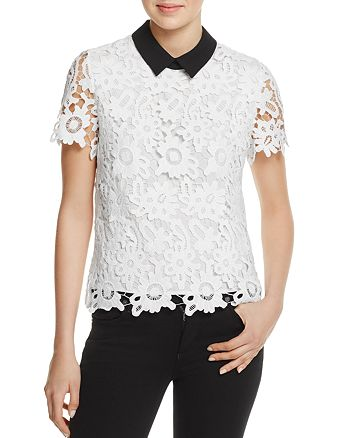 AQUA - Floral Lace Collared Top - 100% Exclusive