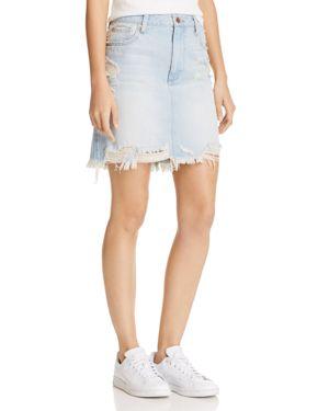 Pistola Sierra Distressed Denim Mini Skirt in Cross My Heart