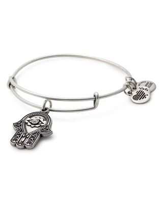 ALEX AND ANI Hand Of Fatima Adjustable Wire Bangle (Nordstrom Exclusive) in Russian Silver