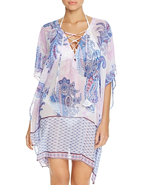 Tommy Bahama Paisley Lace-Up Tunic Swim Cover-Up