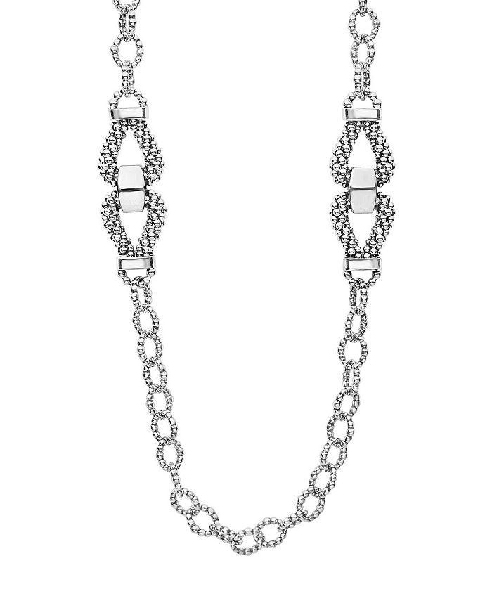 "LAGOS - Sterling Silver Derby Caviar Link Necklace, 34"""