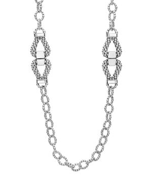 Lagos Sterling Silver Derby Caviar Link Necklace, 34