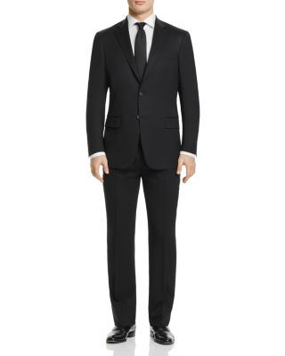 HART SCHAFFNER MARX New York Classic Fit Solid Stretch Wool Suit in Black