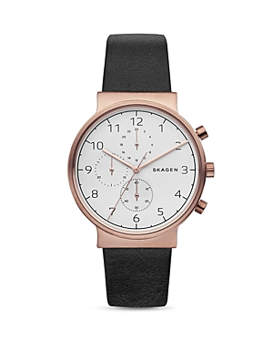 Skagen Ancher Leather Strap Chronograph Watch, 40mm