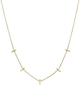 """Zoë Chicco - 14K Yellow Gold Bar Station Necklace, 16"""""""