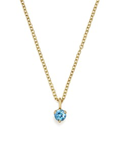 "Zoë Chicco - 14K Yellow Gold and Aquamarine Pendant Necklace, 14"" - 100% Exclusive"