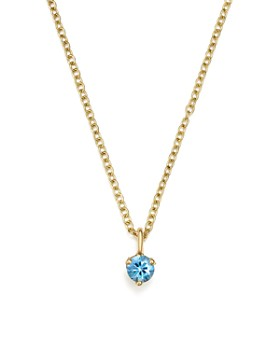 """Zoë Chicco - 14K Yellow Gold and Aquamarine Pendant Necklace, 14"""" - 100% Exclusive"""