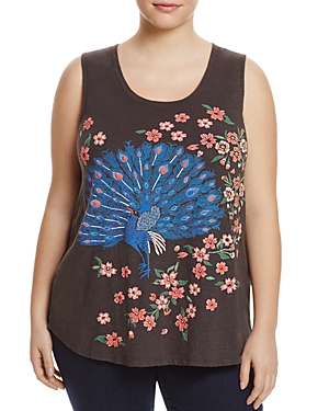 Lucky Brand Plus Embroidered Peacock Floral Tank
