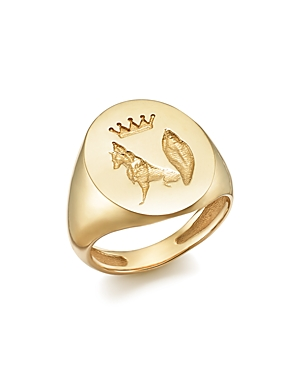 Iconery x Stone Fox Bride 14K Yellow Gold Fox Signet Ring