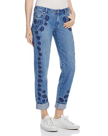 MICHAEL Michael Kors - Michael Kors Dillon Floral Embroidered Boyfriend Jeans in Antique Wash - 100% Exclusive