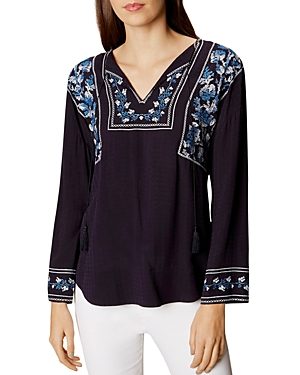 Karen Millen Crosstitch Embroidered Peasant Blouse