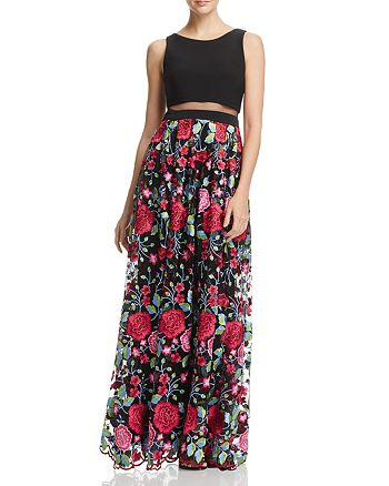 Avery G - Illusion-Waist Floral-Print Gown