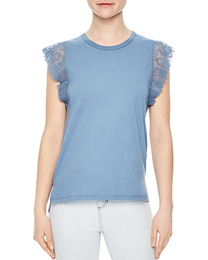 Sandro Heidi Lace-Trimmed Top