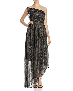 Talulah Asymmetric Metallic Thread Chiffon Gown