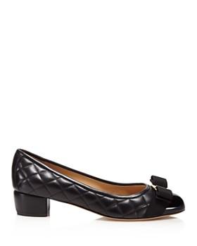 Salvatore Ferragamo - Women's Vara Quilted Leather Block Heel Pumps