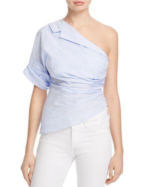Petersyn Leah One-Shoulder Striped Top
