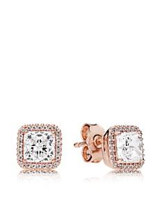 PANDORA - 14K Rose Gold, Sterling Silver & Cubic Zirconia Luminous Love Knot Earrings
