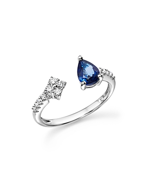Sapphire and Diamond Open Ring in 14K White Gold - 100% Exclusive