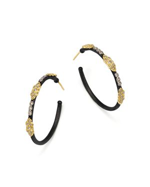 Armenta 18K Yellow Gold and Blackened Sterling Silver Old World Large Diamond Hoop Earrings