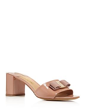 Salvatore Ferragamo Patent Leather Block Heel Slide Sandals