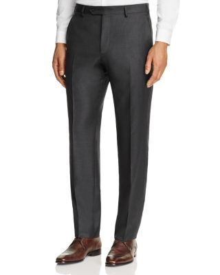 LUIGI BIANCHI Solid Twill Classic Fit Dress Pants in Charcoal