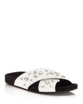 Rebecca Minkoff Theo Jeweled Leather Pool Slide Sandals Black/Silver Women