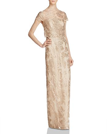 Adrianna Papell - Bodice-Overlay Lace Gown