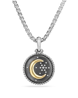 David Yurman - Cable Collectibles Moon and Star Amulet with Diamonds and 18K Gold