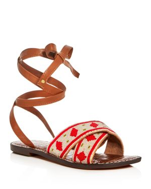 Sam Edelman Luisa Beaded Ankle Wrap Sandals