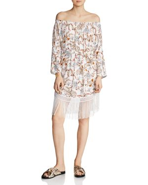 Maje Ridane Off-the-Shoulder Printed Dress