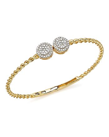 Bloomingdale's - Diamond Cluster Twisted Bangle in 14K Yellow Gold, .60 ct. t.w. - 100% Exclusive