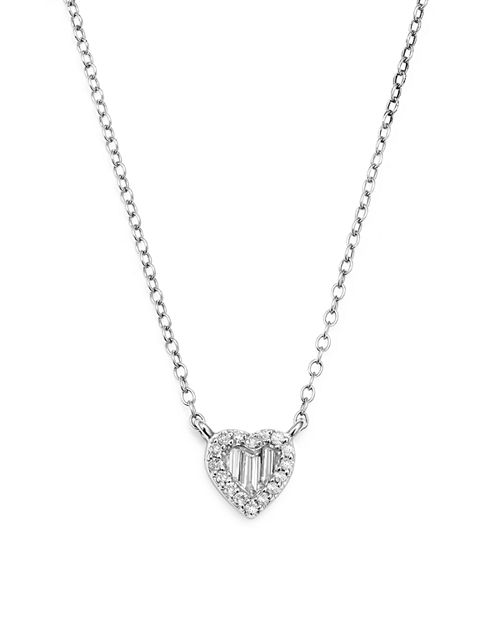 Bloomingdale's - Diamond Round and Baguette Heart Pendant Necklace in 14K White Gold, .10 ct. t.w. - 100% Exclusive