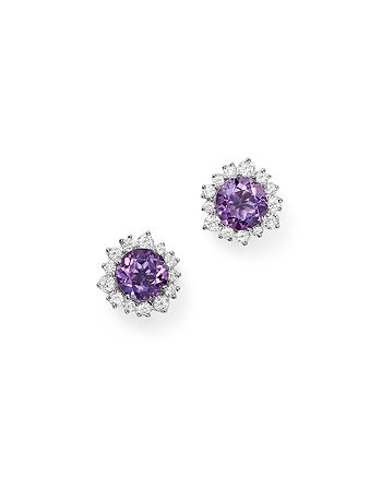Bloomingdale's - Amethyst and Diamond Halo Stud Earrings in 14K White Gold - 100% Exclusive