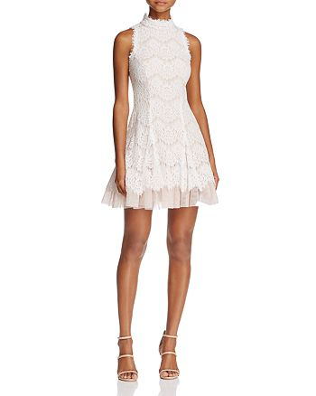 AQUA - Lace Mock Neck Dress - 100% Exclusive