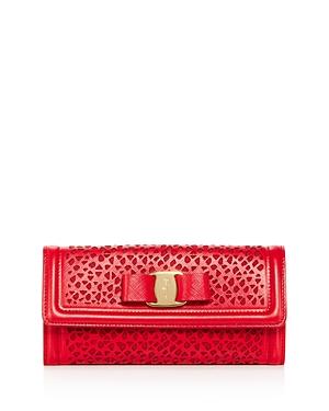 Salvatore Ferragamo Vara Laser-Cut Leather Continental Wallet