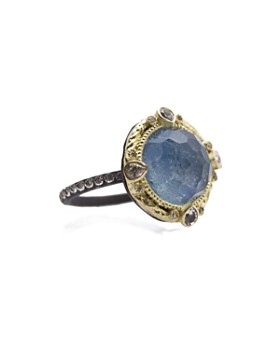 Armenta - 18K Yellow Gold and Blackened Sterling Silver Old World Eternity Blue Quartz Triplet, Diamond and White Sapphire Ring - 100% Exclusive