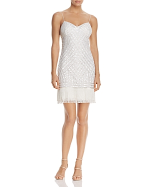 Aidan Mattox Fringe-Hem Beaded Dress