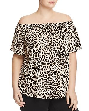 Vince Camuto Plus Leopard Print Off The Shoulder Top - 100% Exclusive