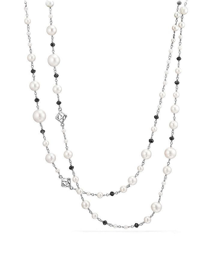 David Yurman - Oceanica Cultured Freshwater Pearl and Bead Link Necklace with Black Spinel
