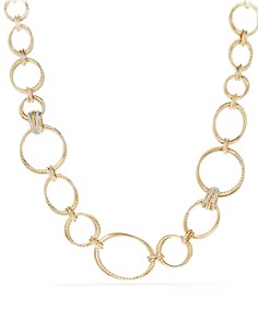 David Yurman - Crossover Gold Convertible Statement Necklace with Diamonds