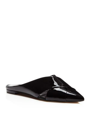 Sigerson Morrison Sheldon Patent Leather Crisscross Pointed Toe Mules 2589337