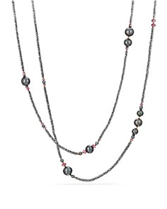 David Yurman - Oceanica Tweejoux Necklace with Dyed Cultured Freshwater Gray Pearls, Hematine and Rhodolite Garnet