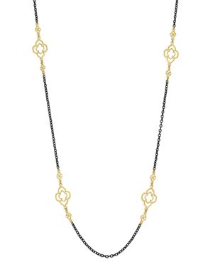 Armenta 18K Yellow Gold and Blackened Sterling Silver Old World Heraldry Scroll Station Necklace, 37