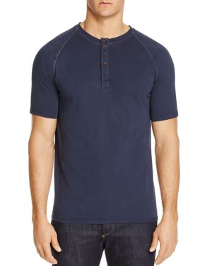 M SINGER Henley Shirt in Navy