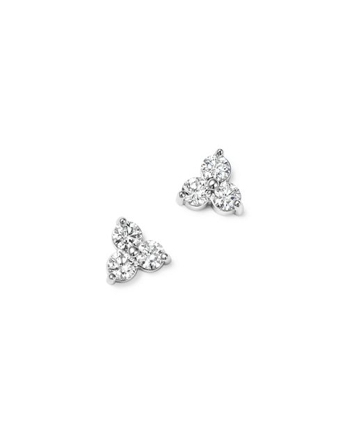 Bloomingdale S Diamond Three Stone Stud Earrings In 14k White Gold 100 Exclusive
