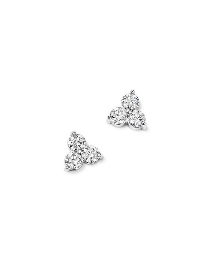 Bloomingdale's DIAMOND THREE STONE STUD EARRINGS IN 14K WHITE GOLD, 0.38 CT. T.W. - 100% EXCLUSIVE