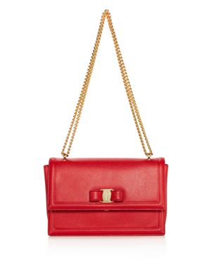 Salvatore Ferragamo Ginny Score Medium Leather Shoulder Bag