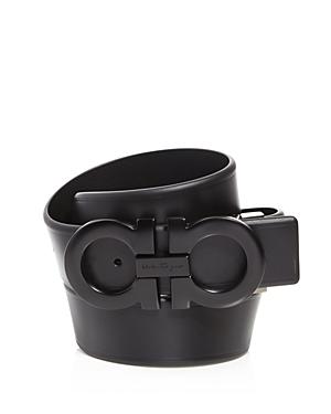 Salvatore Ferragamo Men's Smooth Reversible Belt with Shiny Gunmetal-Tone Double Gancini Buckle