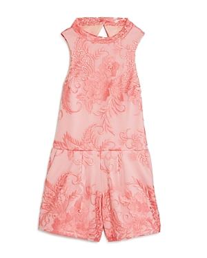 Miss Behave Girls' Remi Floral Print Romper - Big Kid