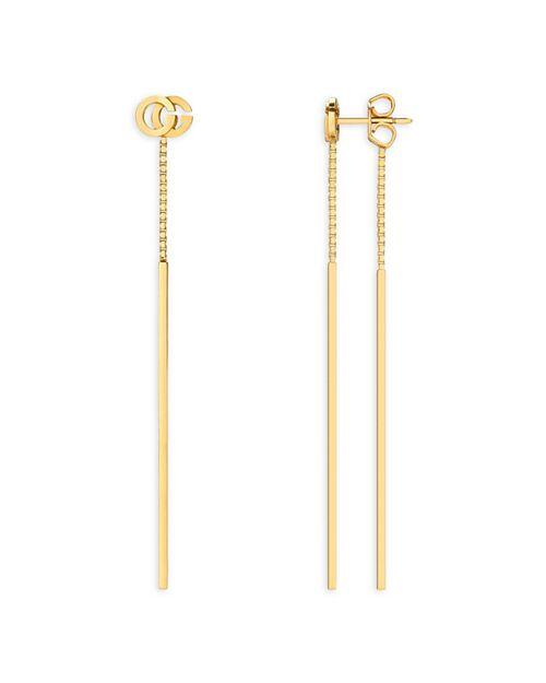 Gucci - 18K Yellow Gold Running G Drop Earrings